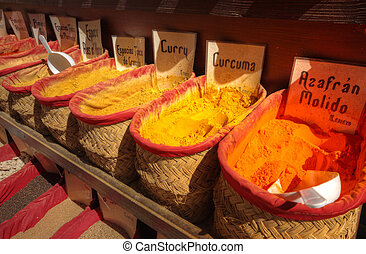 street stand with spices in Madrid