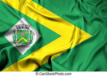 Waving Flag of Santa Barbara d'Oeste, Sao Paulo, Brazil