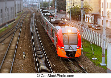 High-speed electric train, railway - Modern electric...