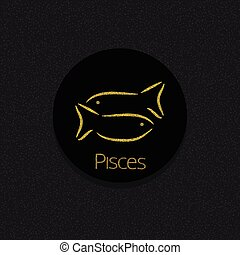Pisces Zodiac sign. Pisces abstract symbol. Pisces golden...