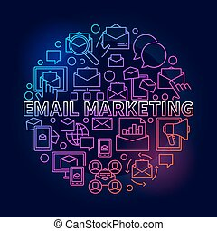 Colorful email marketing illustration Vector round digital...