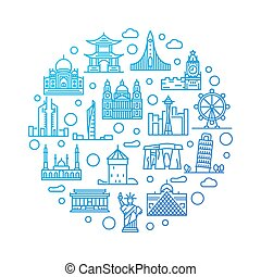 World landmarks colorful illustration