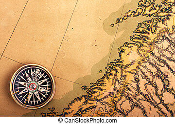Compass on old map - Compass on the ancient map