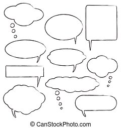 Comic style chat bubbles on a white background
