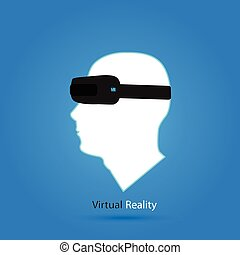 Virtual Reality Illustration - Illustration of a man's head...