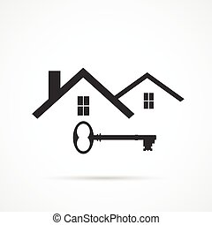 House Key Illustration - Concept image of an abstract house...