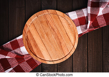 kitchen table top view Cutting board on wood background