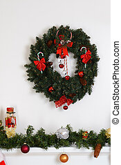christmas wreath fireplace mantel - christmas wreath over...