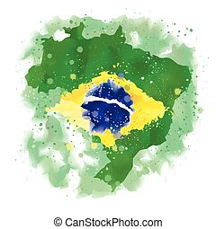 vector map of Brazil Watercolor
