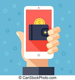 Hand holding smartphone with wallet and coin on screen....