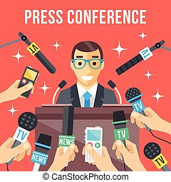 Press conference. Man giving speech - Press conference....