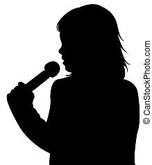 a girl speaking with microphone