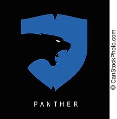 Panther. Panther head and shield. - Black Panther head...