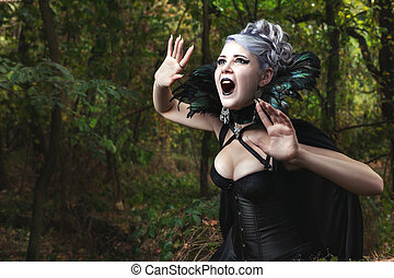 Scary witch screams. - Scary witch screams, she gothic...