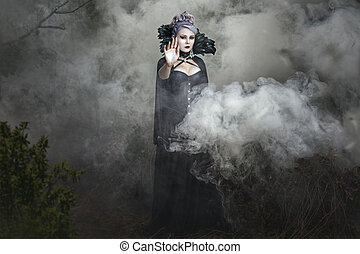 Gothic girl in the smoke. - Gothic girl in black clothes...