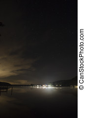 harbour and starlit sky on the werbellinsee by night taken...