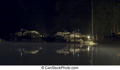 harbour and boots on the werbellinsee by night - harbour on...