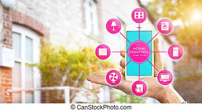 Smart Home Device - Home Control - Using smart home app on...