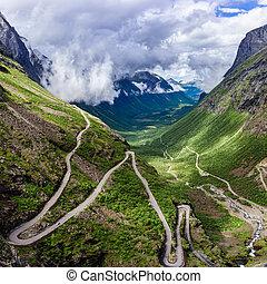 Troll's Path Trollstigen or Trollstigveien winding mountain...