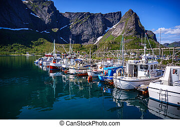 Lofoten archipelago islands - Marina boat Lofoten islands in...