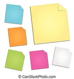 Set of note papers illustration on a white background