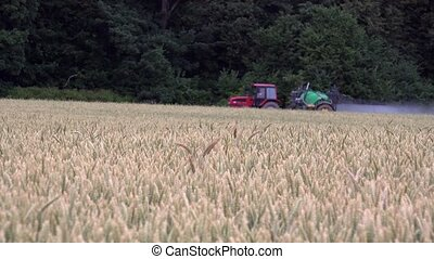 Blurred agricultural tractor spray wheat field with...