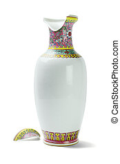 Broken Chinese Ceramic Vase on White Background