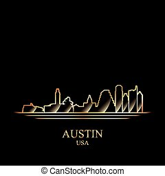 Gold silhouette of Austin on black background, vector...