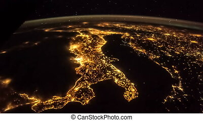 Earth at night from ISS. Elements of this video furnished by...
