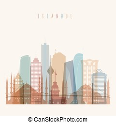 Istanbul skyline poster - Transparent styled Istanbul...