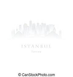 Istanbul in the mist logo. Istanbul skyline silhouette....