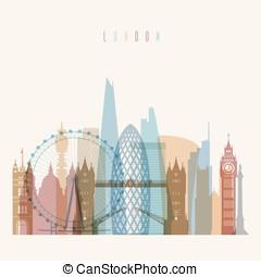 London skyline poster - Transparent styled London skyline...