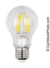 Filament LED bulb isolated on white background with clipping...