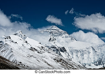 mount everest with snow covered in summer