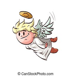 Cartoon flying cute angel - Colorful vector illustration of...