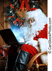 holiday xmas hitech - Modern Santa Claus at his wooden house...