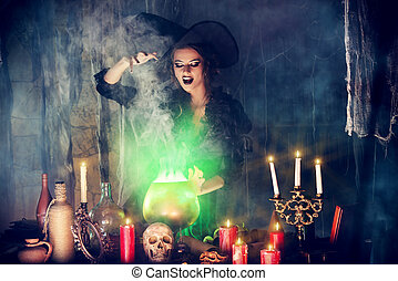 incantation - Attractive witch conjures in the wizarding...
