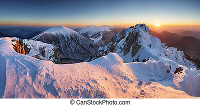 Winter mountain landscape sunset in peak Rozsutec