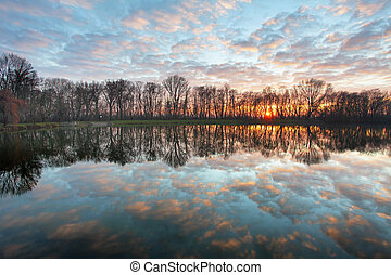 Lake sunset over forest