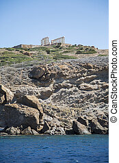 Temple of Poseidon at Cape Sounion, Greece - Seaview at...