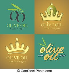 Olive oil vector illustration, background, label, sticker