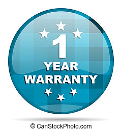 warranty guarantee 1 year blue round modern design internet...