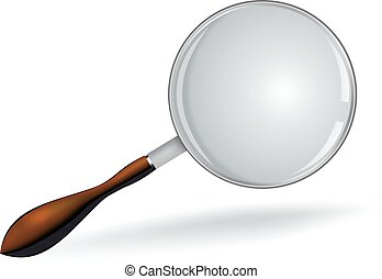 Realistic vector magnifying glass on white.