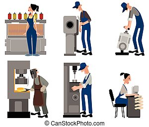 Six workers with machines - Vector illustration of a six...