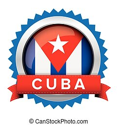 Cuba flag button badge