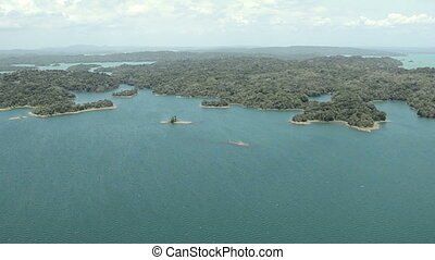 Aerial view of tropical rainforest on the shore of Gatun  Lake  along the Panama Canal route.
