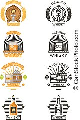 Whisky logo set. Vector alcohol drinks logotypes for...