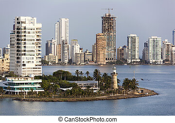 Cartagena City Skyline - The view of modern building...