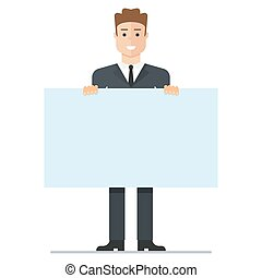 young businessman with poster - Young businessman with a...