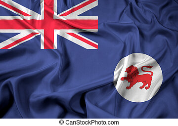 Waving Flag of Tasmania State, Australia